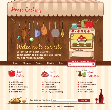 hausmannskost: Home Cooking Web-Vorlage Illustration