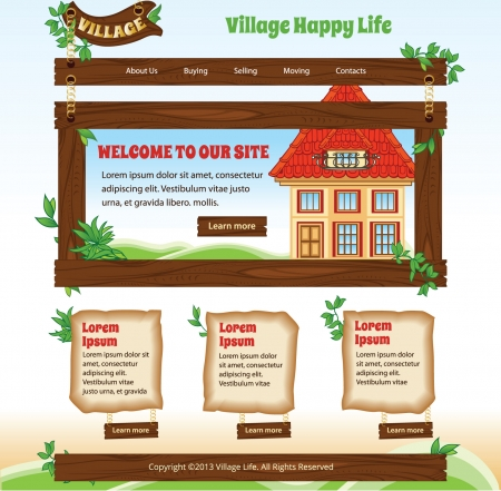 Country wood theme for web template Vector