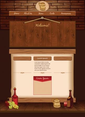 vintage cafe: Web template per il vintage cafe Vettoriali