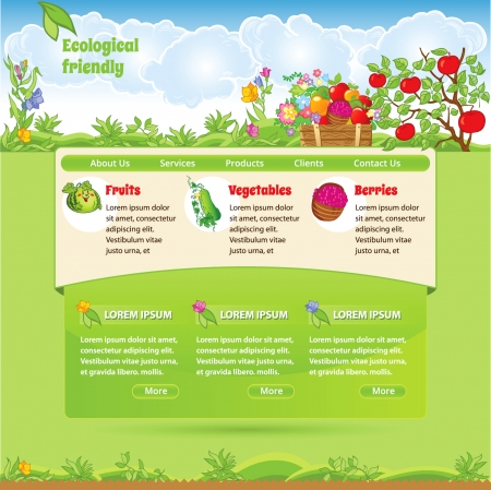 Ecological template for web site Illustration