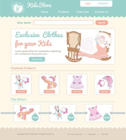 Baby on line store web template Çizim