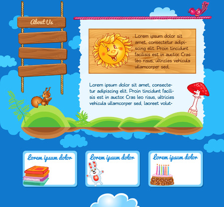 Cartoon kid template with illustrations