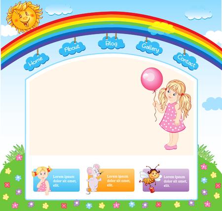 nursery school: Cartoon kid rainbow template  Illustration