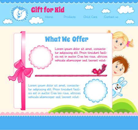 niños con pancarta: Regalo plantilla del bebé de la historieta por Kid