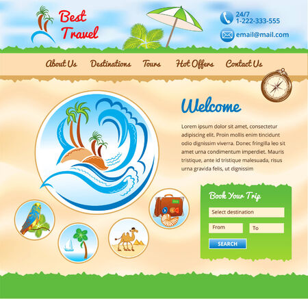 exotics: Beach Background for travel website Illustration