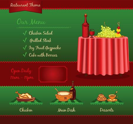 www tasty: Restaurant retro template for web site Illustration