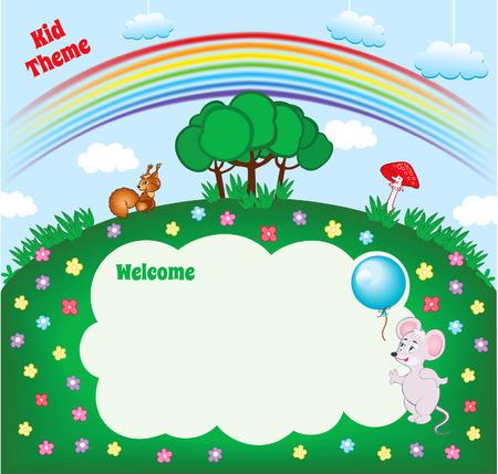niños con pancarta: Diseño de dibujos animados Kid