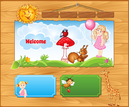 Wooden cartoon background for kid website Vector