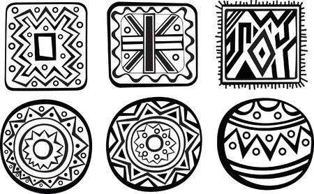 indigenous culture: Set of African ornament  Black and white style