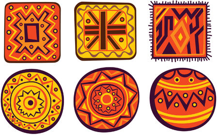monochromatic: Set of African color ornaments