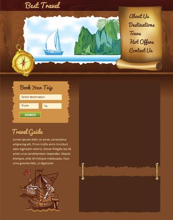 shore line: wooden vintage travel template