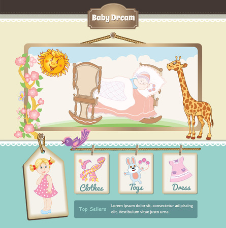 beanbag: Retro Baby cartoon background Illustration
