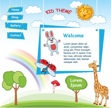 cartoon hare: Cartoon kid template with Rainbow Illustration