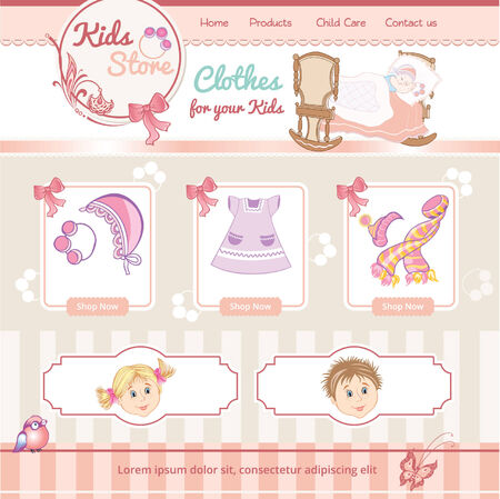baby vintage template for web site Vector