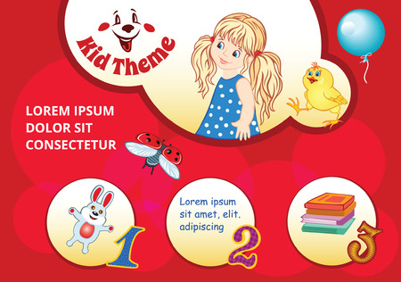 dolly bag: Red Cartoon background for kid template Illustration