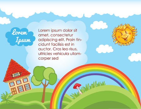 Sky background for kid template with rainbow Vector