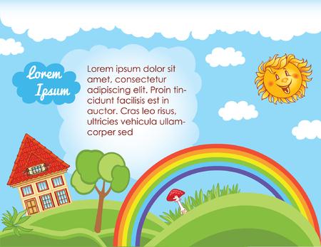 kid vector: Fondo del cielo para la plantilla de niño Vectores