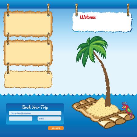 raft: Cartoon Sea Travel Template with floating raft
