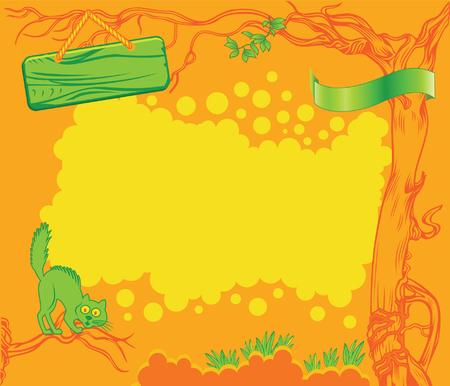 Vector children: Orange Cartoon nền với Cát hoang dã xanh Hình minh hoạ