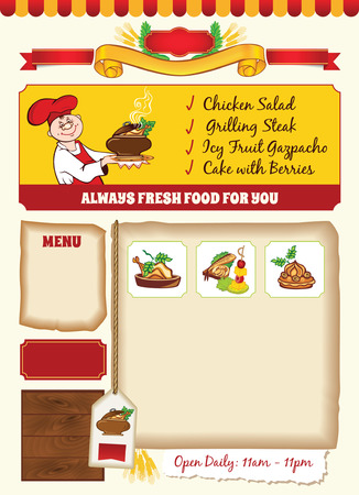 chief: Cooking Template with Cartoon Chief Illustration