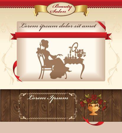 lady: Vintage template for beauty salon web site Illustration