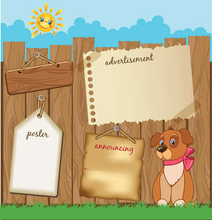 Cartoon advert template with puppy Illustration