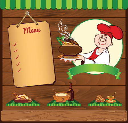 chief: wooden background for cooking template with chief
