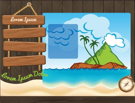 seacoast: Cartoon travel template with palms Illustration