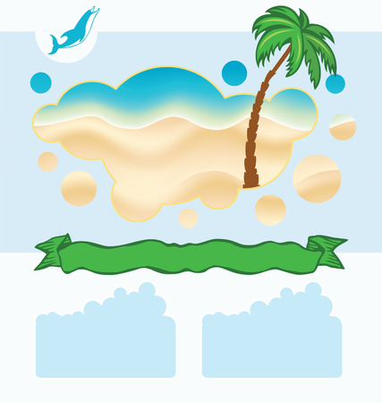 Sea background with palm and green ribbon