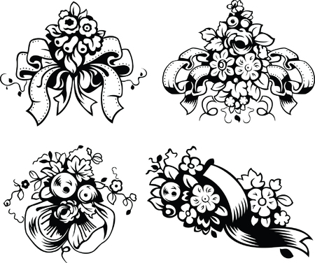 flowers bouquet: Vector illustrations of wedding bouquets, black and white style