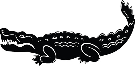 caiman: Cartoon crocodile, black and white colors