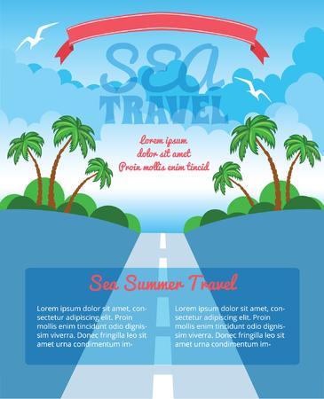 plantilla viajes exóticos con la carretera y las palmas Ilustración de vector