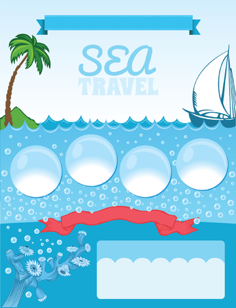 Sea travel template, blue background with bubbles, palms and ship