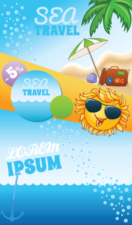 cruise travel: Summer travel template with cartoon smiling sun and place for text Illustration