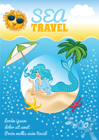 Sea travel template with mermaid