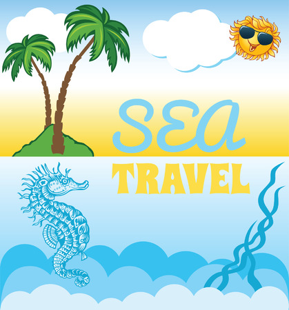 Cartoon background for travel template with palms and seahorse Illustration