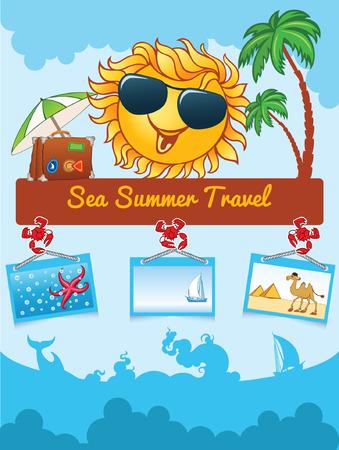 seacoast: Summer cartoon template with smiling sun