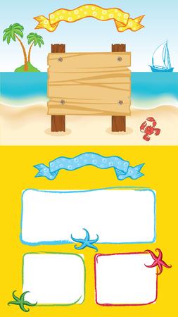 seacoast: Yellow cartoon sea template Illustration