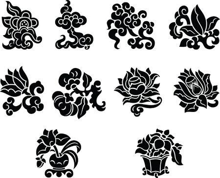 Chińskie kwiatowe elementy dekoracyjne, czarno-biały styl Ilustracje wektorowe