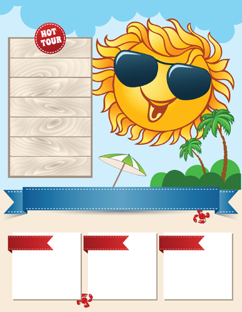 adverts: Travel template with smiling sun Illustration