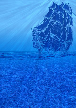 Blue Underwater Background with Sail Ship