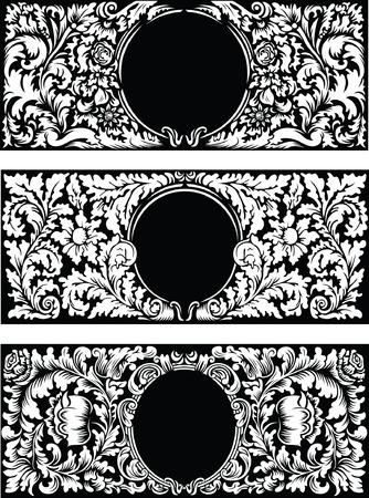 old photo: Vintage floral frames, black and white vector background