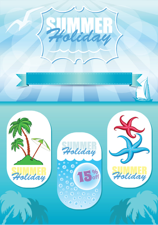 Sea travel template, vector blue background with cartoon illustrations