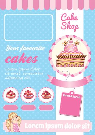 Cake and Dessert Shop Template, blue and pink vector background, cartoon illustrations Ilustração Vetorial