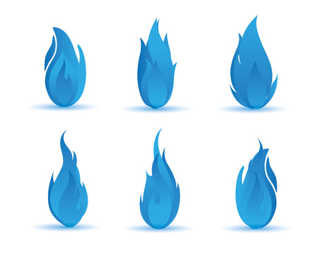 flames: azul gradiente ilustración llama