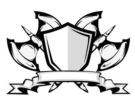 axes and shield badge 向量圖像