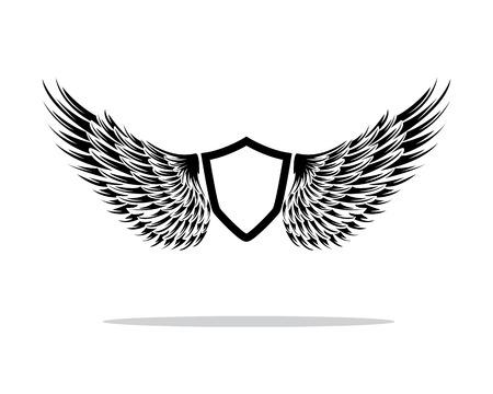 wings shield design illustration Ilustração