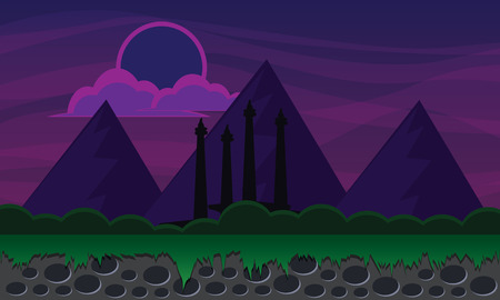 mountain 2d background in the night Illustration