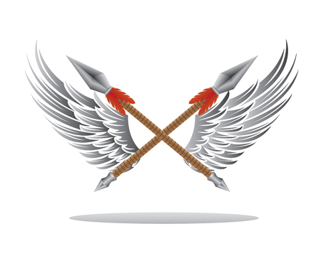 spear: wings spear illustration Illustration