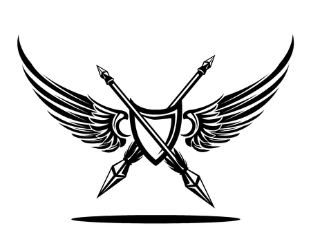 wingshield badge with double spears Illustration